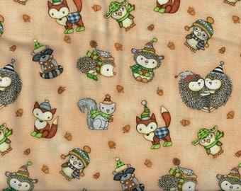 FREE SHIPPING - Hedgehugs Forest Animals fabric - peach - hedgehog fox squirrel owl raccoon - Henry Glass - YARD
