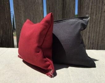 Cornhole Bags Black and Marroon.