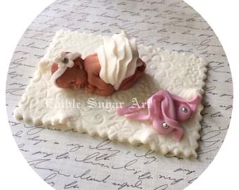 BALLERINA BABY SHOWER Cake Topper Fondant ruffle  Tutu Cake Topper Fondant Cake Topper baby girl