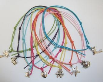 Ankle Bracelet Anklet - Adjustable Cord String in 8 Designs - Summer Beach Holiday