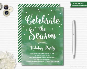 Watercolor Christmas Invitation Christmas Party Holiday Invitation Holiday Party Office Party Invitation Christmas Office Party Printable