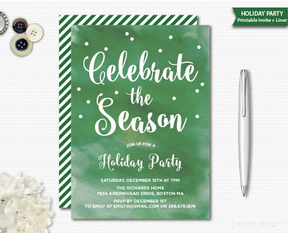 Watercolor Christmas Invitation Christmas Party Holiday Invitation