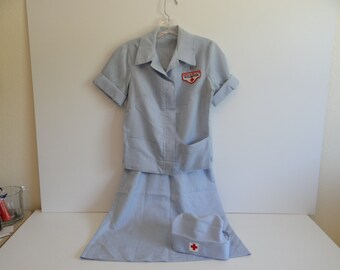 1950s Vintage Red Cross Volunteer Two Piece Uniform with Hat - dress - Great costume