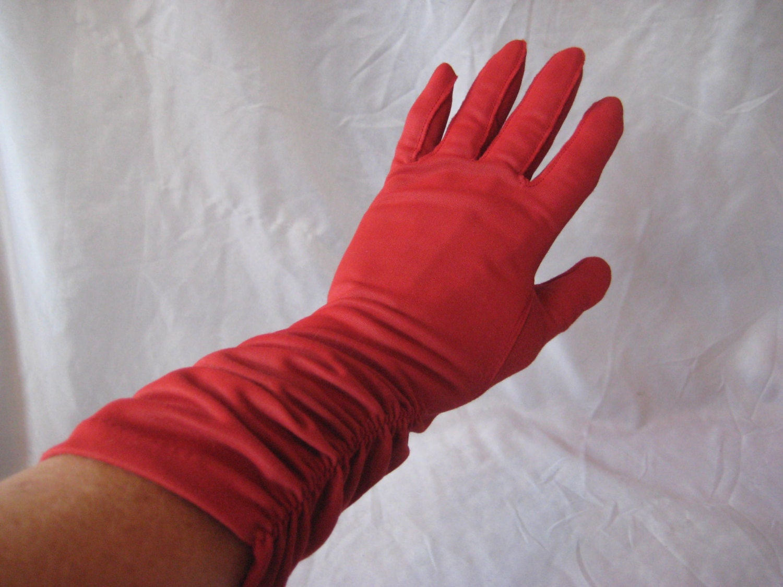 Red long gloves vintage nylon gloves size 7 evening formal