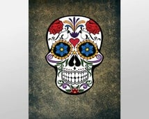 Colorful Skull Canvas Art Print, Sugar Skull Wall Art, Skull Canvas Print, Artistic