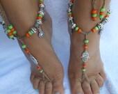 Crochet Barefoot Sandals Beach Wedding  Yoga Shoes Foot Jewelry  Orange Green Silver