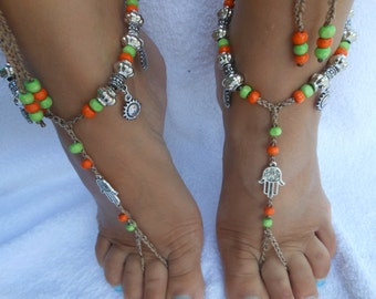 Crochet Barefoot Sandals Beach Wedding  Yoga Shoes Foot Jewelry  Orange Green Silver