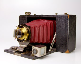 Kodak Brownie No.3 Folding Antique Camera RED BELLOWS