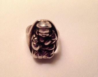 Vintage Sterling Silver Budda Pinkie Ring Size 2