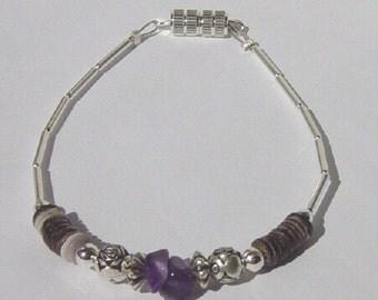 Amethyst Nugget Bracelet, Handcrafted Amethyst Nugget Bracelet, Amethyst Nugget Bracelet with Shell and Liquid Silver