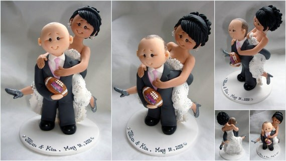 rugby themed wedding cake toppers items similar to groom piggybacking rugby theme 19467