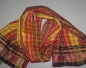 Small Scarf Vintage Scarf Indian Sari Scarf Checks Brown and Yellow Scarf Upcycled VSF1