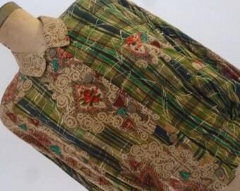 80's Jacket Carole Little Slouchy Krinkle Rayon Boho Oversize Blouse Size M