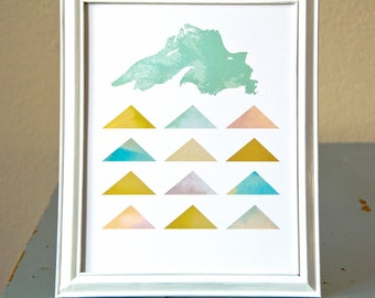 Lake Superior Geometric Art Print #2