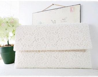 Bridesmaids large envelope clutch, ivory cream lace clutch, cream clutch, lace fabric clutch, evening purse (last 6 piece)