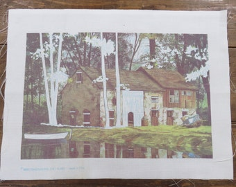 Stamped Cross Stich canvas - #3625 Dimensions, 1987 - River House and boat