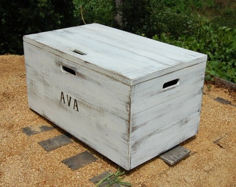 Distressed White Wooden Crate Rolling Toy Chest/ Large Storage Box/Toy Storage
