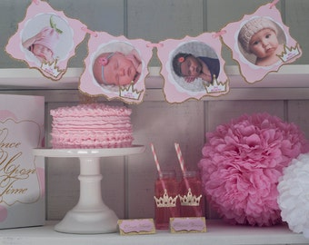 12 Month Photo Banner, Princess 1st Birthday Party,  One Year Photo Banner, Pink and Gold Birthday Picture Banner,