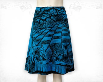 Alice in Wonderland Mad Tea Party cotton flared skirt Blue