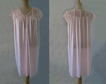 Pink Nightgown With Lace Yoke and Sleeves
