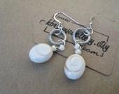Gemstone Dangle Earrings, Shiva Shell Drop Earrings, Handmade Earrings, Edinburgh Jewellery Designer, Shipped Worldwide from Scotland, U.K.