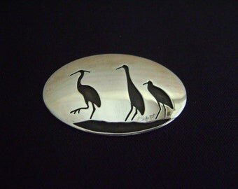 Vintage 80's Sterling Silver Sea Birds Hopi Overlay by Lois Bertolino