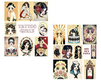 Tattoo Girls Digital Collage Set