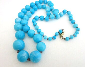 Blue Bead Necklace Hand Knotted Lucite