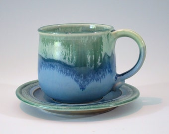 ocean colored cup and saucer