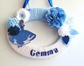 Girls Door Hanger , Bedroom Door Sign ,  Personalized Cinderella Name Sign , Baby Shower Gift , Blue ad White Door Plaque , Yarn Wreath
