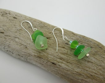 Green Sea Glass Dangle Earrings, Authentic Seaglass, Sterling Silver
