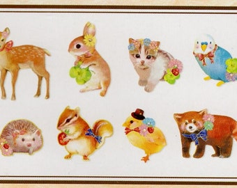 Deer,Hedgehog,Bird,Rabbit,Squirrel Japan kawaii 80pcs Stickes flake/CP391