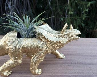 Plantasaurus // Gold Triceratops Dinosaur Planter