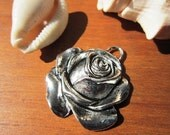 large rose Charm silver color for leather cord . JEWELRY MAKING components.