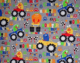 Gray Monsters/Monster Trucking  Cotton Fabric by the Yard