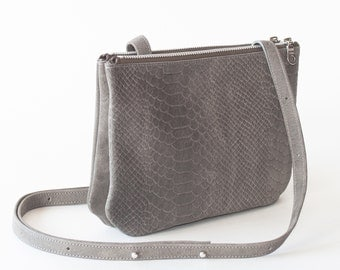 Shoulder bag 'DUO' in grey python print leather