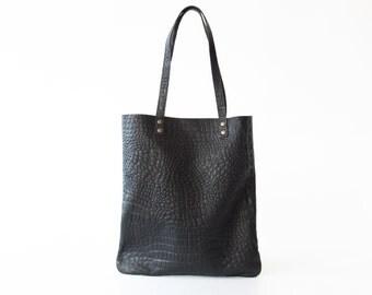 Shopper 'SIMPLE' BLACK crocodile print leather