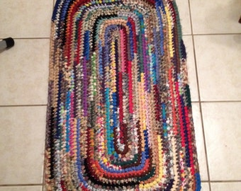 Crocheted Rug/Rag Rug. Shabby, Boho, Vintage Decor - Runner - 2' x 4' . Hand-made  USA 100% reclaimed /recycled materials. Eco Friendly