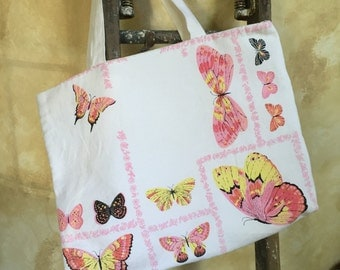 Vintage tablecloth tote/beach