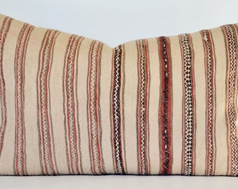 Vintage Moroccan Blanket Pillow 16x24