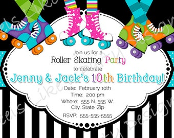 Custom Boy and Girl Roller Skating Party Invite