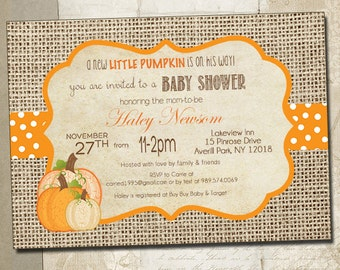 Little Pumpkin Baby Shower Invitations- DIY Printable Rustic Burlap Autumn Shower Invitations _1008