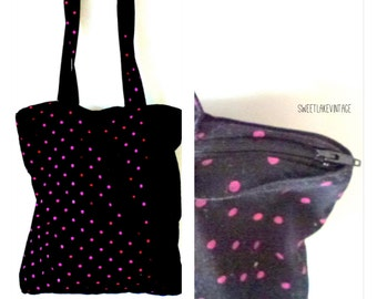 SALE - price reduced to 5 dollars only:)black fuchsia tote- vintage cotton bag