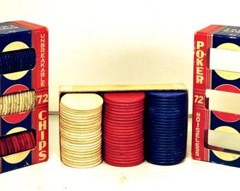 Vintage Poker Chips Noiseless Unbreakable Dennison Poker Chips