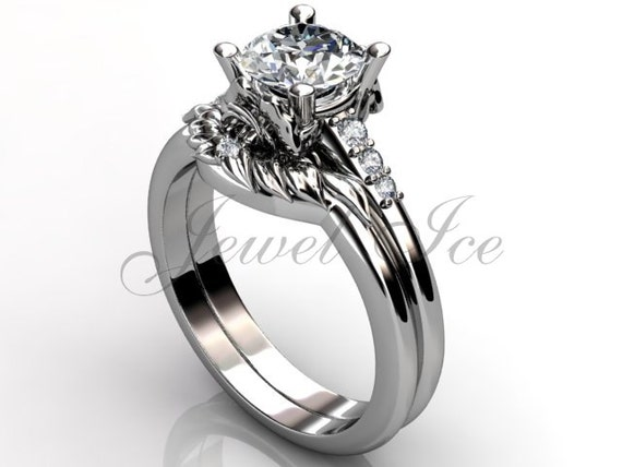 platinum unique flower engagement ring bridal