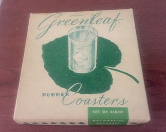Vintage mid century leaf rubber coasters in original box 60s serving
