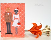 Valentines Day Card, Cat Art, Card For Couples, Greeting Card, Anniversary, Wedding, Engagement, Animal Illustration, For Him, For Her