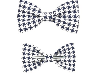 Navy / White Houndstooth Clip On Cotton Bow Tie Bowtie ~ Choose Boys or Men's Sizes