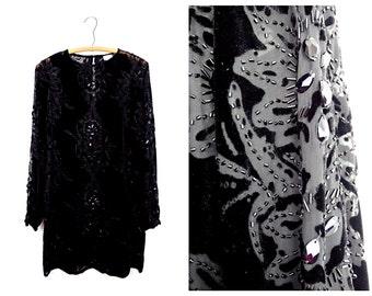 VTG Sheer Black Beaded Dress by Cache // Short Black Sequin Dress // Black Formal Dress US Size 2