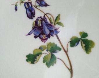 "Bavaria Schumann Germany Arzberg Plate 7.5"" Scalloped Edges Gold Trim Purple Flowers Blue Bell Violets"